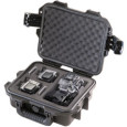Pelican.com HOLDS 2 GOPRO® CAMERAS AND ACCESSORIES Two Press & Pull Latches Double-layered, Soft-grip Handle Two Padlockable Hasps Vortex® Valve Powerful Hinges Meets Carry-on Regulations Lightweight Strong HPX® Resin Watertight...