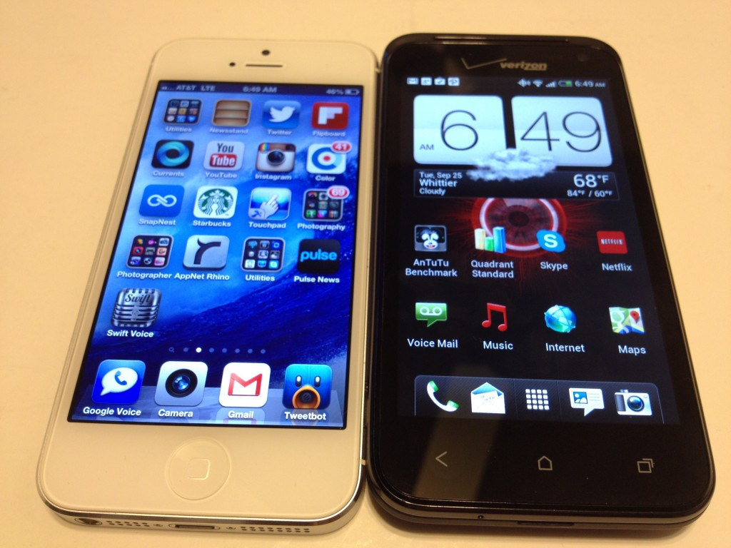 iPhone 5 vs. HTC Droid Incredible 4G LTE Review