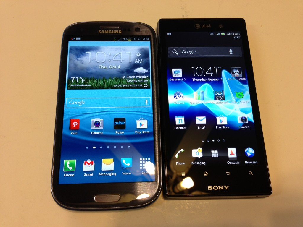 Samsung Galaxy S3 vs. Sony Xperia Ion Android Update 4.04 Review