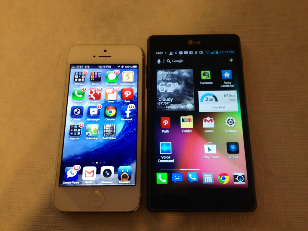 iPhone 5 vs. LG Optimus G AT&T Review
